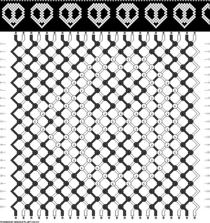 Gothic Alien Skull Friendship Bracelet Pattern