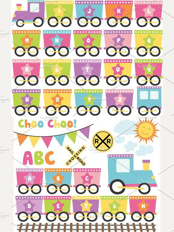 alphabet train girl clipart banner abcclipart trainclipart