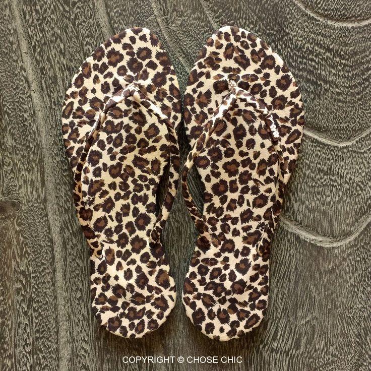 Chose Chic Kawaii Leopard Animal Print Flip Flops for Women