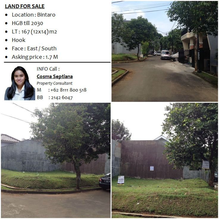 LAND FOR SALE - Location : Bintaro - HGB till 2030 - LT : 167 (12x14) m2 - Hook - Face : East / South - Asking price : 1.7 M  INFO Cosma 08111 800 518