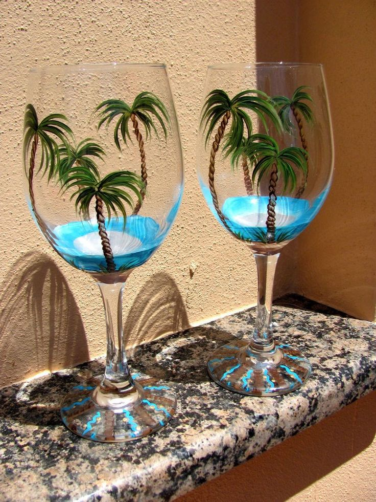 Hand Painted Tropical, Beach Palm Tree Wine Glasses - NEW Design in Home  Garden, Kitchen, Dining  Bar, Glassware | eBay