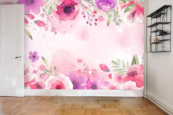 3d Watercolor Flowers Pink Wallpaper Mural Peel And Stick Etsy Mural Wallpaper Pink Wallpaper Murals Pink Wallpaper