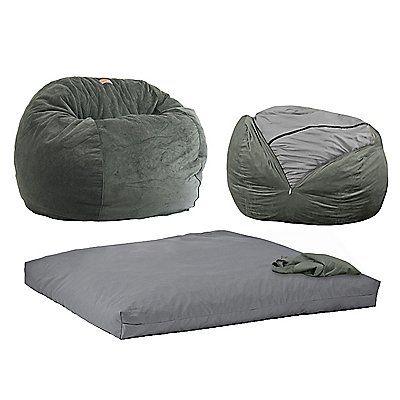 Brilliant Cordaroys Grey Plush Fur Convertible Bean Bag Chair Gray Ibusinesslaw Wood Chair Design Ideas Ibusinesslaworg