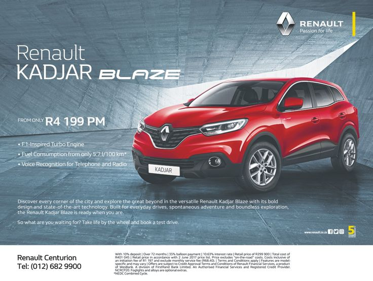 Renault - Passion for life !! Don't miss out on this amazing #Renault #Kadjar #BLAZE from only R4 199 PM !! Contact #Renault #Centurion today on 012 682 9900 for more information. *Terms and Conditions Apply. #Autofind