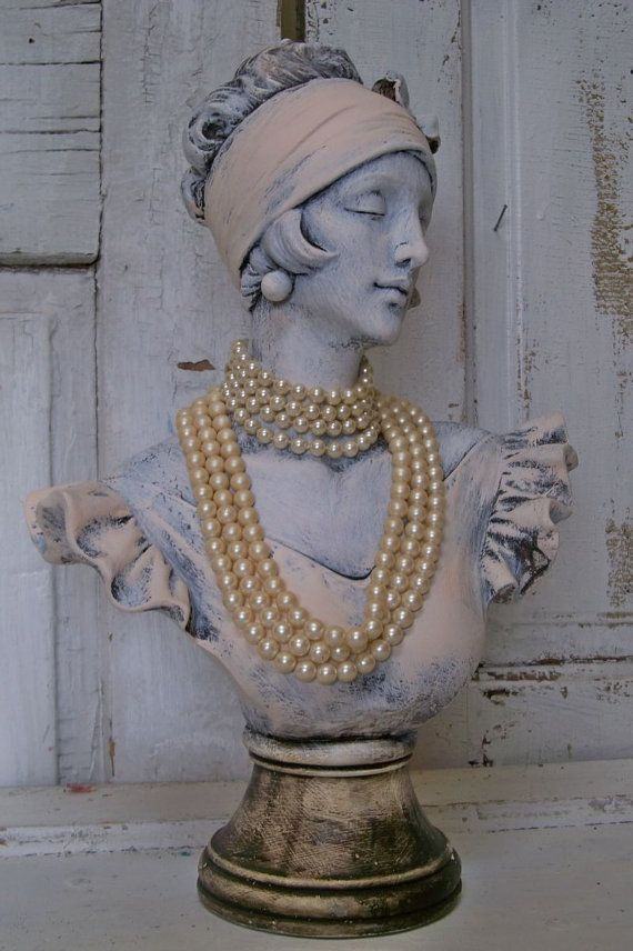 Reserved 48 Hours French Lady Bust Statue Shabby Chic
