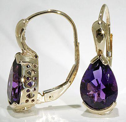 pure gold amethist earrings | 14k Yellow Gold Earrings Pear Shape 2 80 CTW African Amethyst | eBay