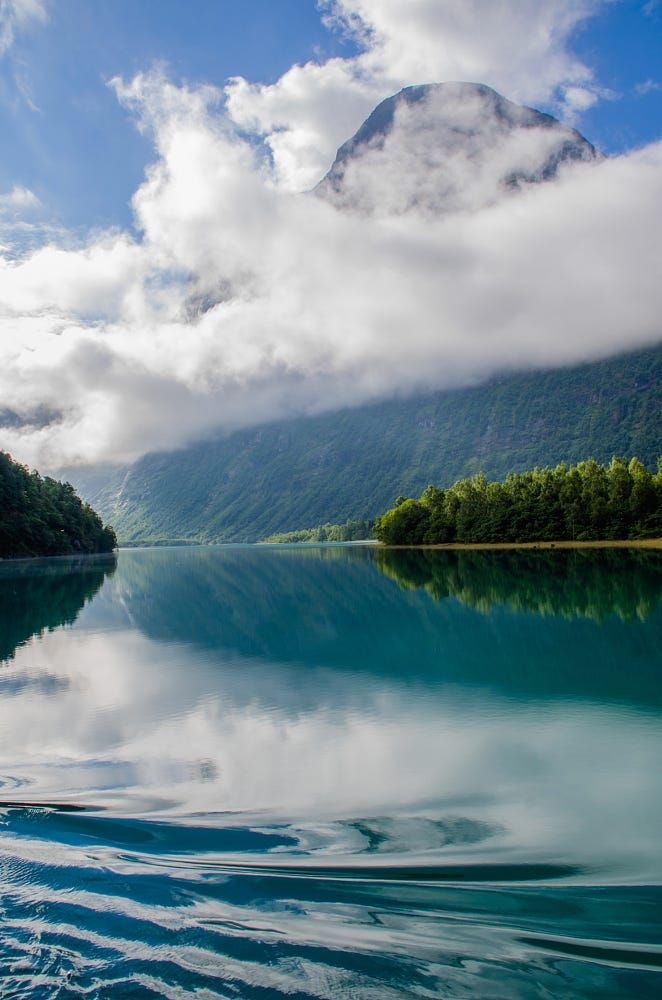 Fjord Cruising by CHRIS  TAYLOR.... #trees #sky #lake #forest #sea #mountains #water #reflection #clouds #green #fjord #wilderness #Europe #Norway