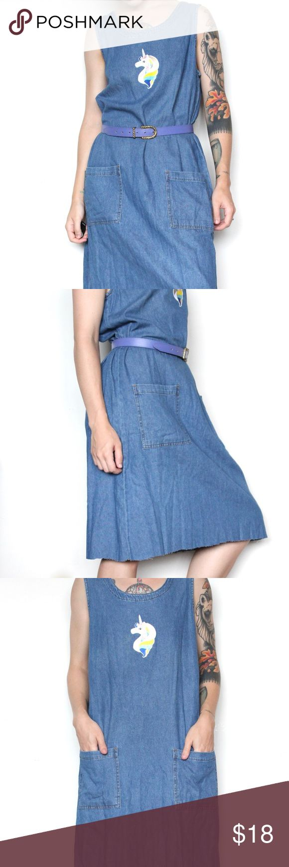 """Unicorn Sleeveless Denim Dress with Pockets Adorable vintage denim dress from the 90s, updated with a modern unicorn patch on the front. The bottom has been hand-cut as well so there's a raw hemline at the bottom. Two pockets in the front, no fasteners so you have to put it on overhead. Styles best with a belt (belt not included)  Measurements lying flat Armpit to armpit: 20"""" (40""""around) Waist: 21.5"""" (43""""around) Hips: roughly 23"""" (46""""around) Total length: 41"""" Brand: Marisa Canvas Tag size: L…"""