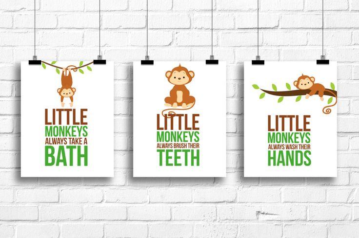 Little monkeys bathroom rules, Monkeys Decor, Jungle art prints, Kids Art, Bathroom decor, Bathroom rules art, monkeys bathroom art, A-3056 by RainbowsLollipopsArt on Etsy https://www.etsy.com/listing/180100985/little-monkeys-bathroom-rules-monkeys