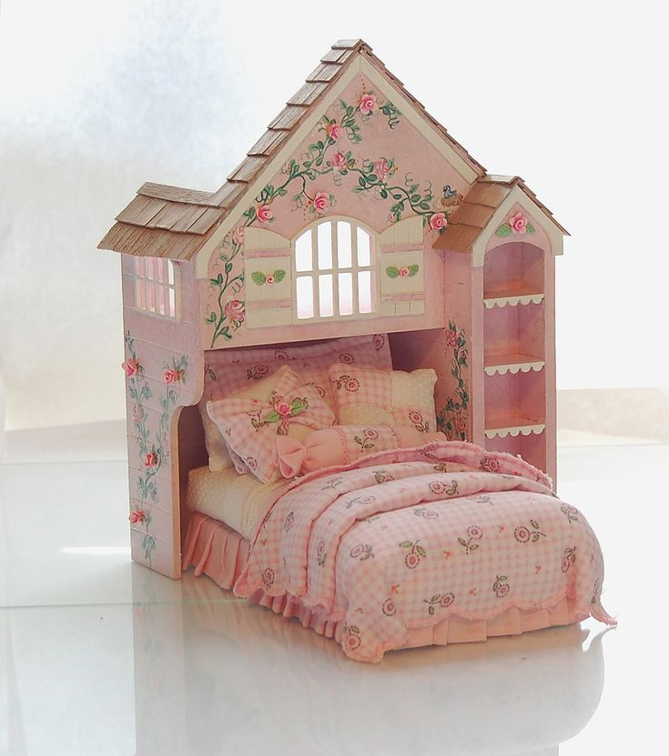Pink & White Perfection PLAYHOUSE BED Dollhouse by MiniatureLane.  http://www.etsy.com/listing/83670347