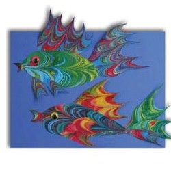Marbelized Fish takes fish to a real art form. These fish would stand out in any tropical setting. www.freekidscrafts.com