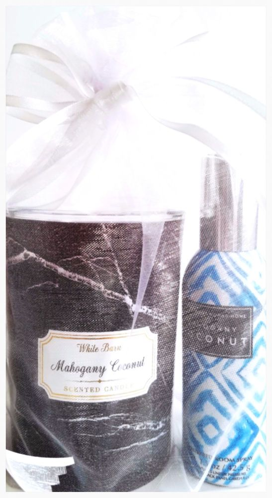 Bath & Body Works Mahogany Coconut Medium Marble Candle & Room Spray Set #BathBodyWorks
