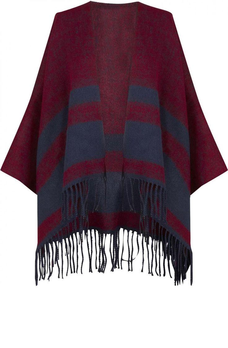 Poncho bicolore à franges  burgundy/bleu marine - ceintures femme - naf naf 1