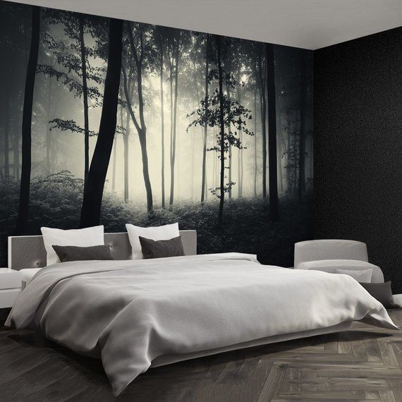 Misty Forest Peel Stick Or Non Woven Photo Wallpaper Wall Mural Trees In Mist Forest Background Peel And Stick Non Woven Large Removable Forest Wallpaper Bedroom Cozy Bedroom Design Wallpaper Bedroom