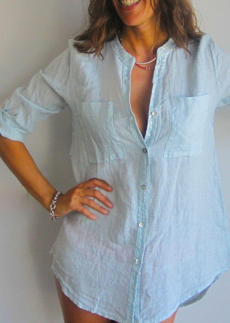 camisa de lino con lentejuelas y espalda de encaje. www.ch2online.com