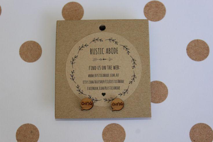 """Handmade Wooden Laser Cut Stud Earrings ~ """"OMG"""" Speech Bubble"""