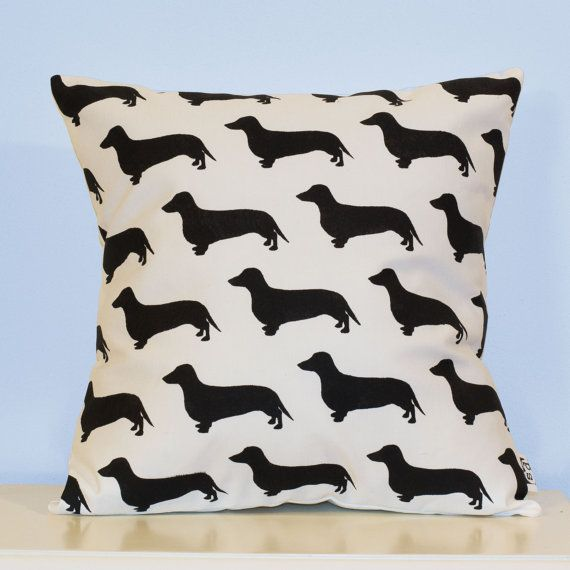 Handmade Dachshund - sausage dog pillow cover. Black and white - dog pillow - decorative pillow - sofa pillow - dog cushion - silhouette