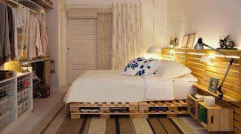 Dormitorio hecho con palets #decoración #reciclaje #palets