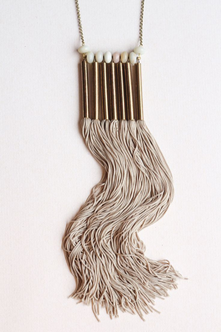 Necklace - Collar, chinese Amazonit, Silk Fringe, Brass. By Mimi Scholer