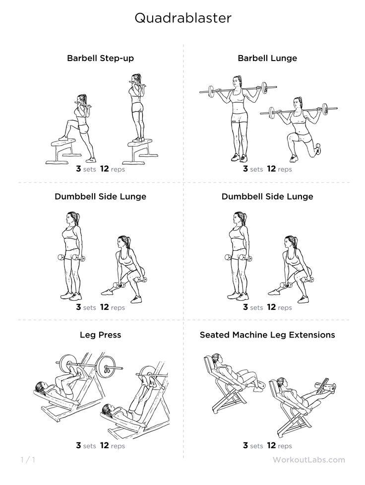 Quads focused leg workout i pinterest