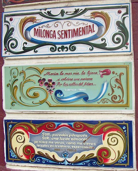 FILETEADO PORTEÑO: Frases, en el barrio del abasto, Buenos Aires.