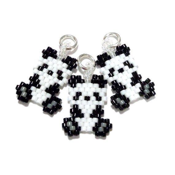 Cute Panda Charm -  Animal Jewelry -  Brick Stitch Bead Weaving