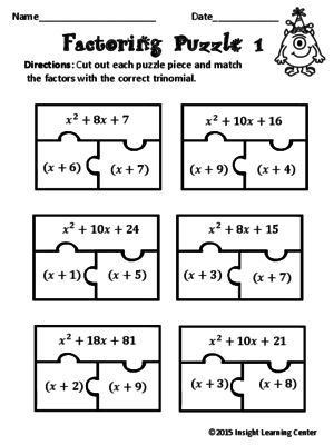Crafty image for factoring polynomials games printable