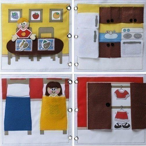 Such a fun idea - portable doll house with velcro