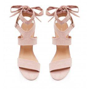 Dilly Süet Bantlı Topuklu Pembe  Ayakkabı