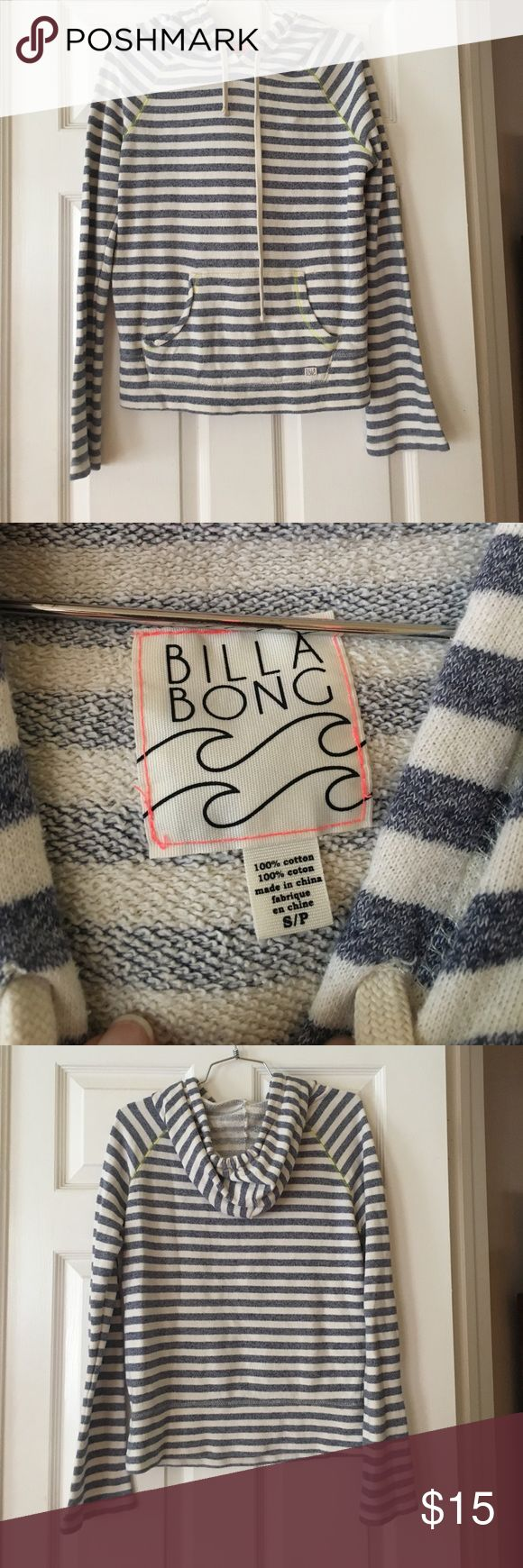 Billabong blue and white stripped sweatshirt Billabong blue and white stripped sweatshirt size s Billabong Tops Sweatshirts & Hoodies