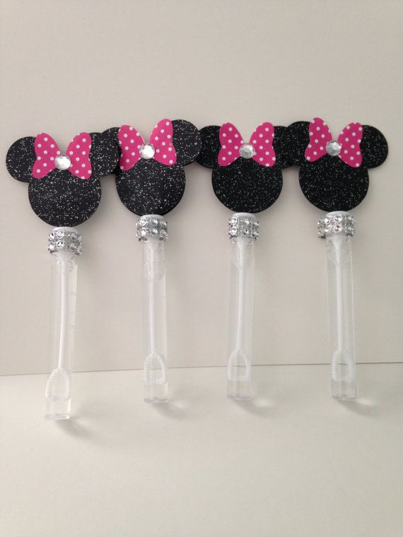 12 Minnie Mouse Bubble Wands Bubble wands by PinkGatorCreations