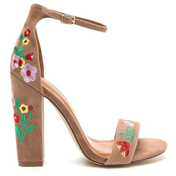 Top Flor Embroidered Chunky Heels ($28) ❤ liked on Polyvore featuring shoes, tan, floral-print shoes, thick high heel shoes, tan shoes, vegan shoes and open toe shoes