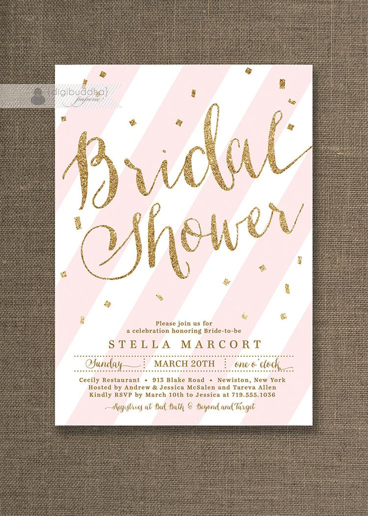 recipe themed bridal shower invitation wording%0A Gold Glitter Bridal Shower Invitation Bridal Shower Invites Pink Striped  Confetti Ready Made or Printable Bridal Shower Invites  Stella