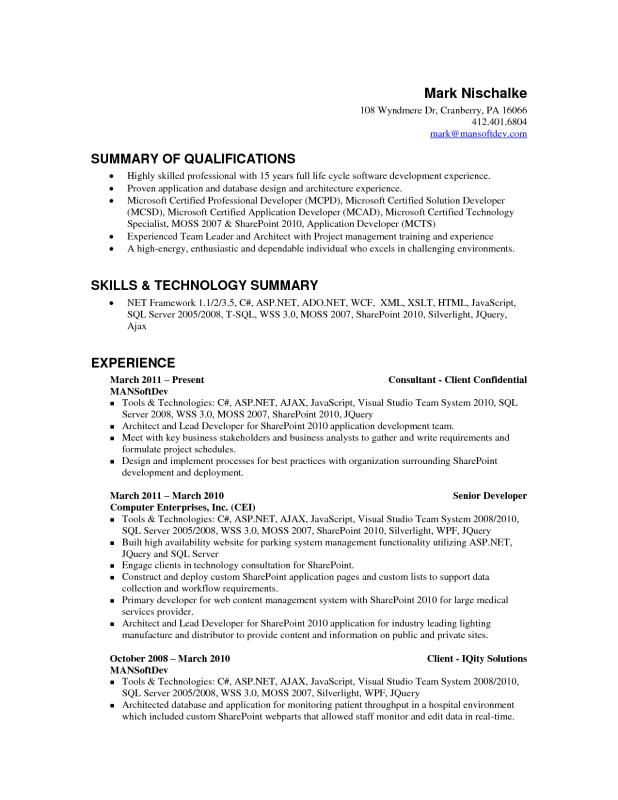 Experience Resume Format For Xml Developer Job Resume Samples Resume Format Architect Resume