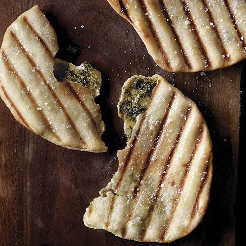 Grilled Naan Filled with Herbs and Cheese - FineCooking
