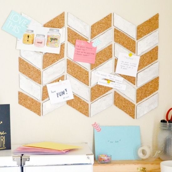 A step-by-step tutorial on how to make a herringbone patterned pin board.  With free printables!