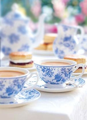Love the blue and white china - love it even more with scones, jam, and clotted cream in the background...