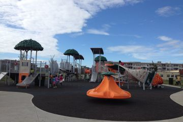 The new playground in Rutherford, in Edmonton, deemed the Jungle playground. Lots of fun, and new things to climb.