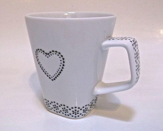 Hand Painted Mug - Doily Heart