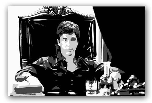 scarface in throne chair movie pop art print and movie art on gallery wrapped frames ready to hang delivered free to your door with a full money ba