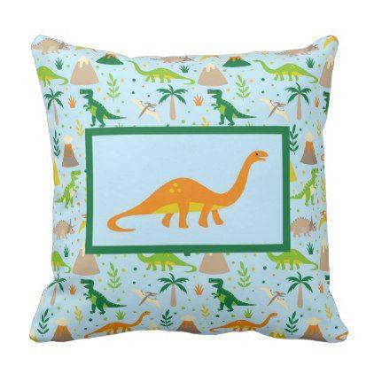 Dinosaur Blue Green Orange Throw Pillow - blue gifts style giftidea diy cyo