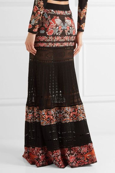 Roberto Cavalli - Jacquard And Pointelle-knit Maxi Skirt - Black - IT