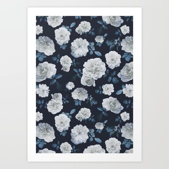White vintage roses pattern, photographed and designed on a grey background. Romantic and lovely!