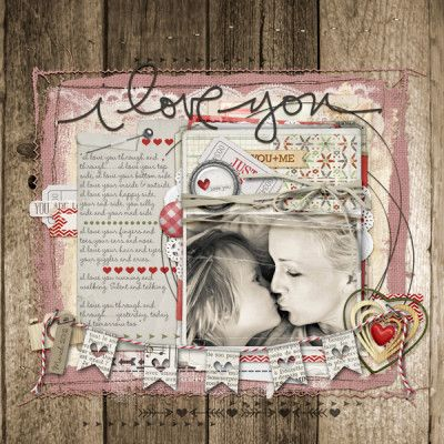 i love you by Lorraine Ungeheier /Jan 28, 2014 /  love the pink & cream on the wood background paper /  cute banner across the bottom!