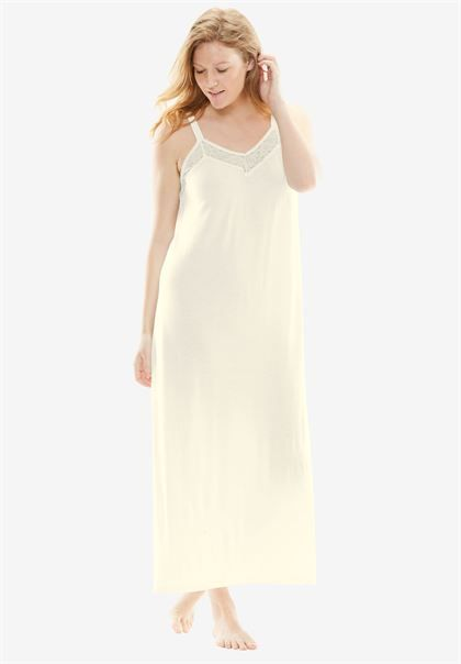 Lace-Trim Long Nightgown & Robe Set | Plus Size Robes & Slippers | Jessica London