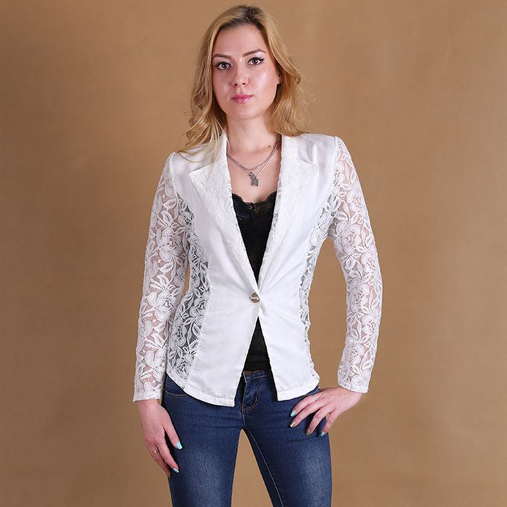 Fashion 2016 Foldable Coat Sexy Sheer Lace Blazer Lady Suit Outwear Women OL Formal Work Wear Slim Jackets Black White Hot Sale