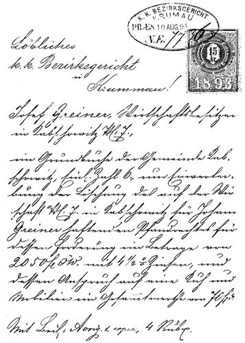 Vintage handwritten letter with stamp and postmark 1893