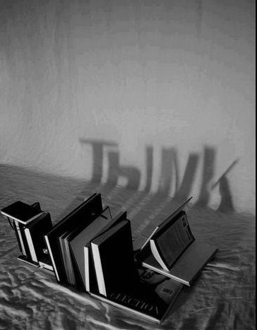 (think,books,reading,quote,shadow,photography,black and white)