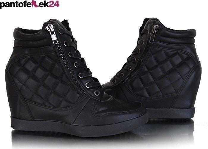 Czarne buty na koturnie / Black sneakers / 79,90 PLN #sneakers #black #spring #autumn #wiosna #fashion