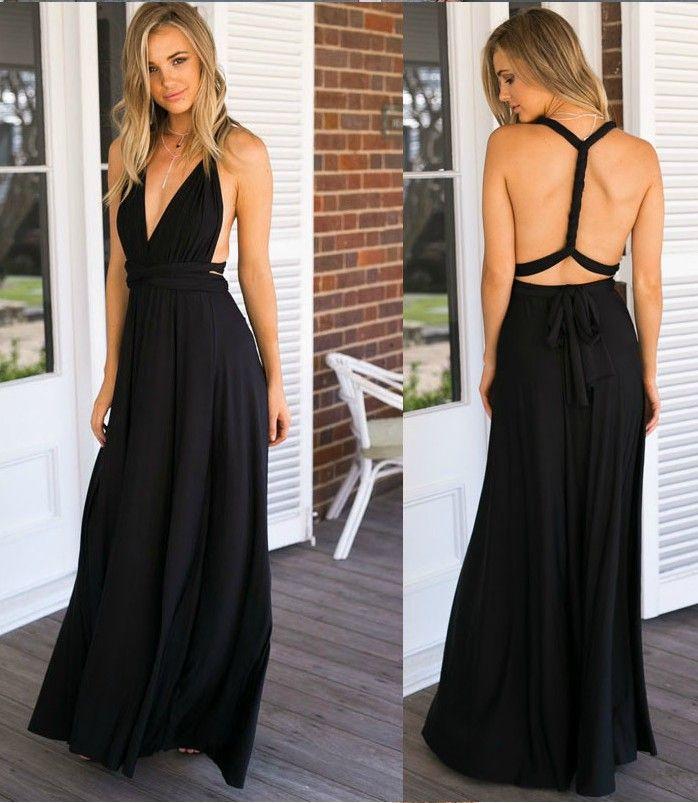 Black V Neck Long Goddess Dress